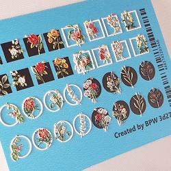 Sticker 3d marco con flores...