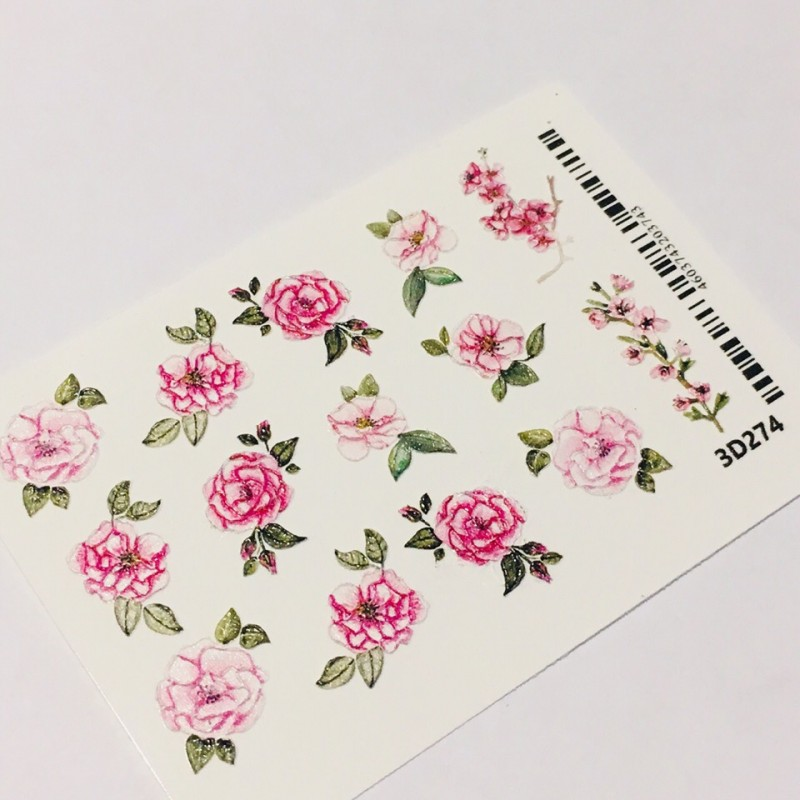 036 Sticker 3d Rosas 3d274