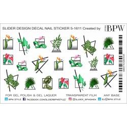 744   Sticker hojas 5-1611